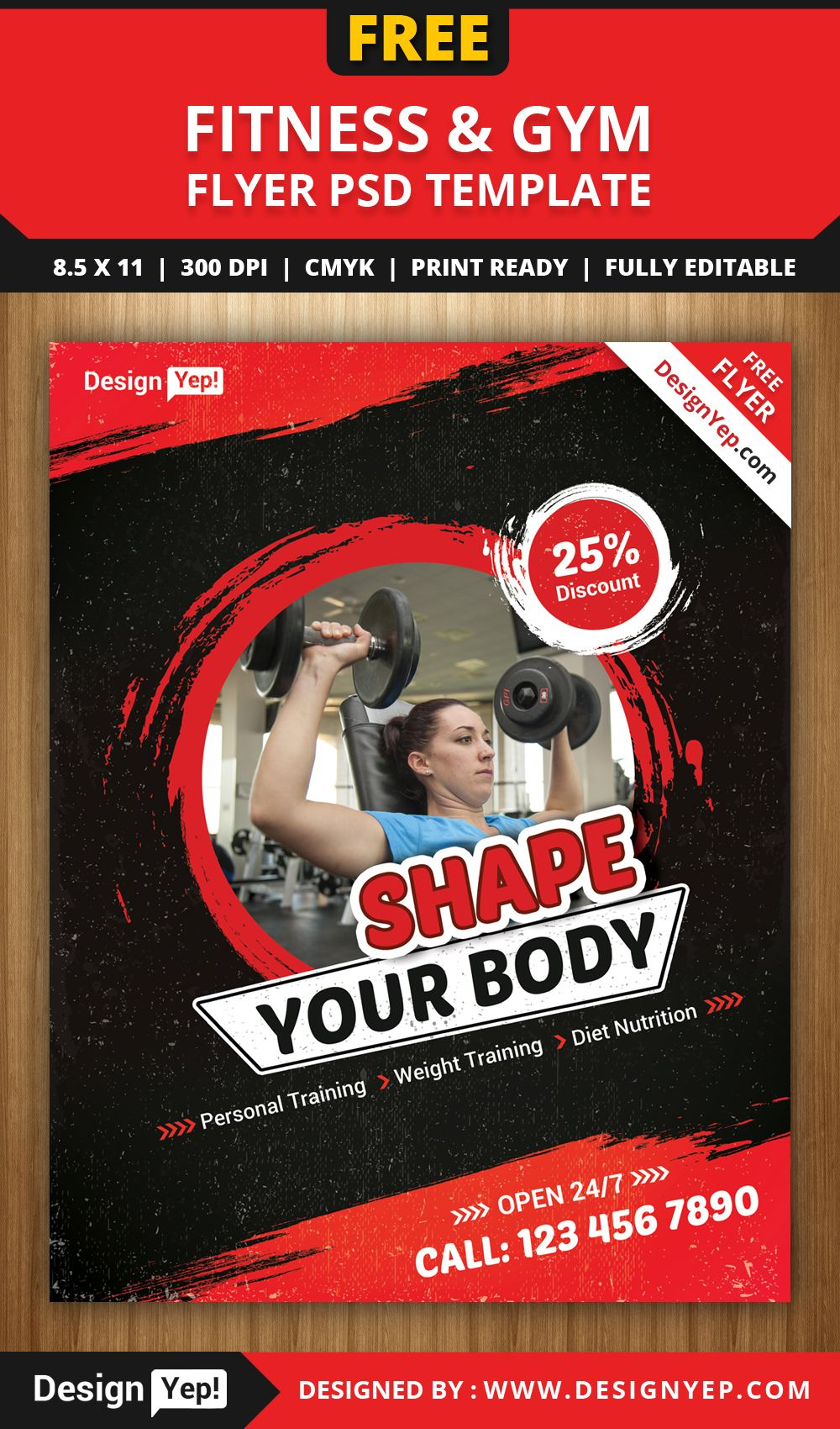 Free Fitness Gym Flyer Psd Template 4411 Designyep Free Flyers
