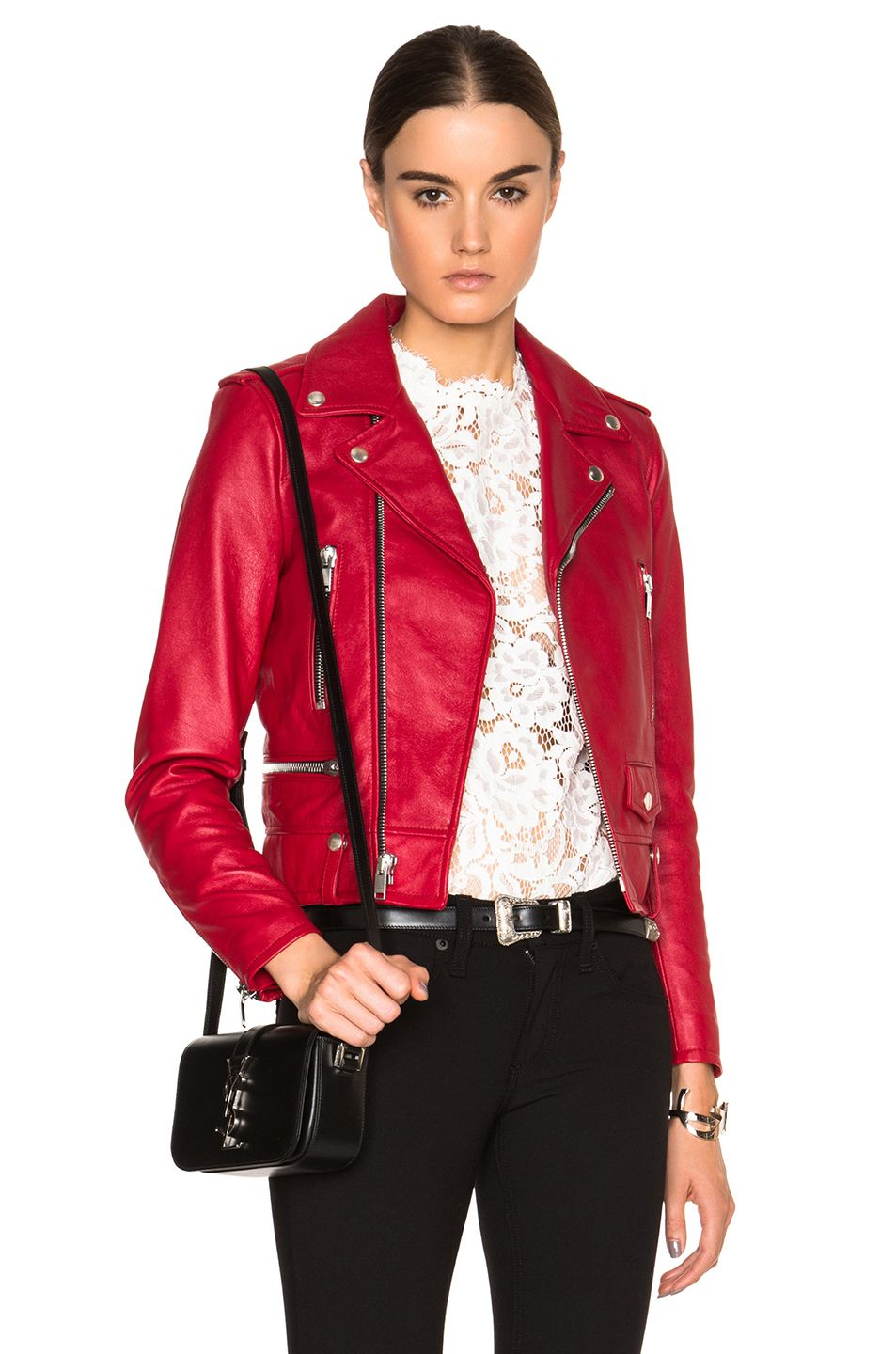 Image 1 of Saint Laurent Classic Motorcycle Jacket in Red