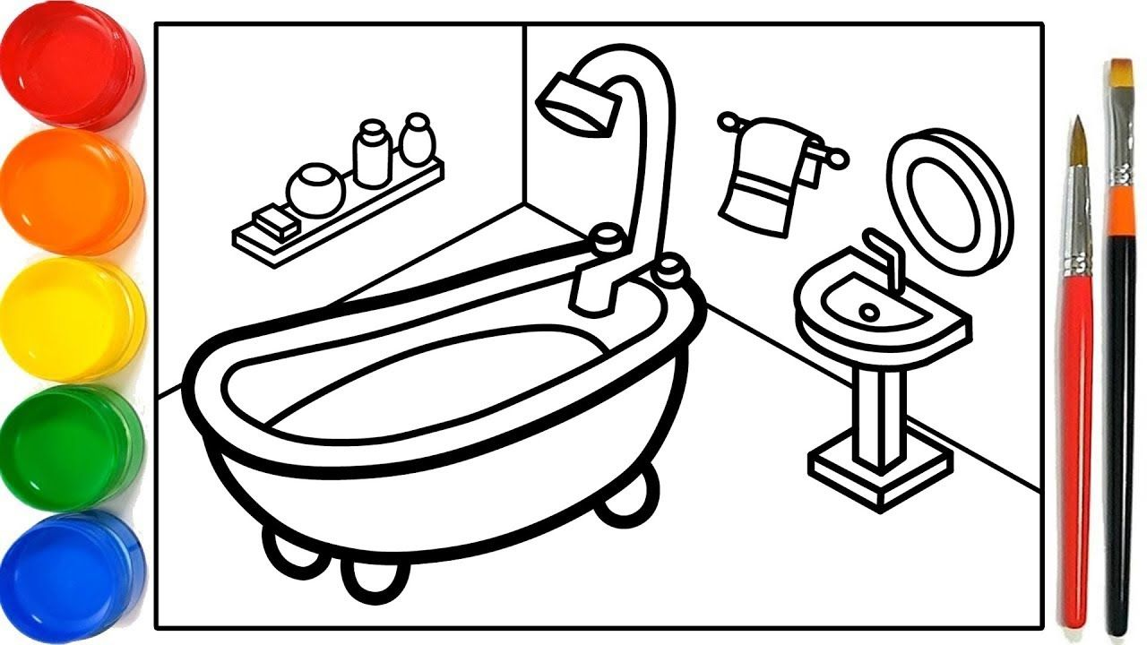 Glitter Bathroom Drawing And Coloring Pages For Kids Kamar Mandi