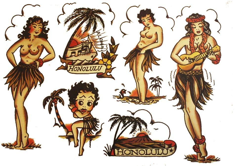 hawaii flash sheet 3 tattoo pinterest vintage tattoo design sailor jerry and tattoo vintage. Black Bedroom Furniture Sets. Home Design Ideas