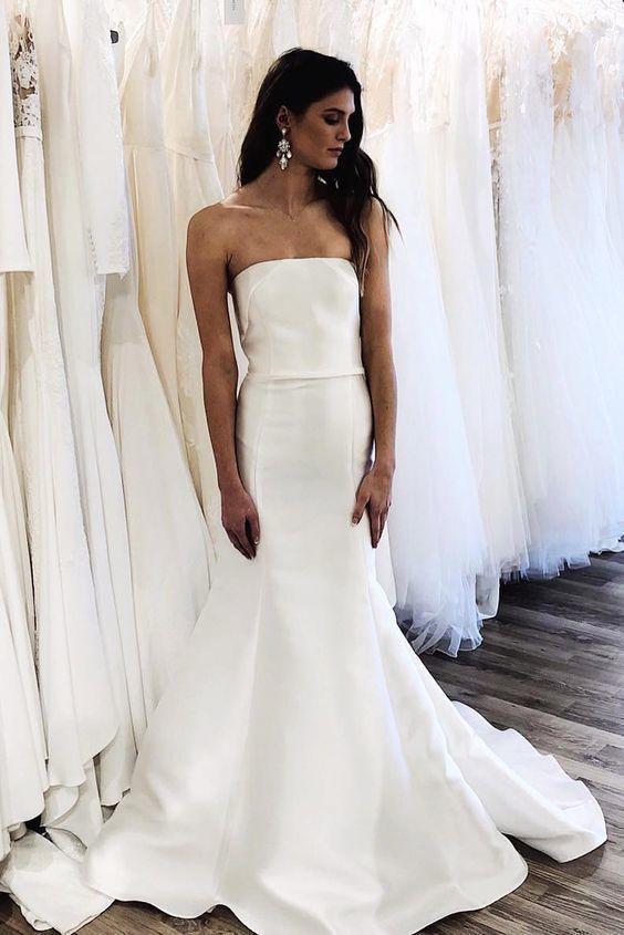 Strapless Mermaid White long wedding dress