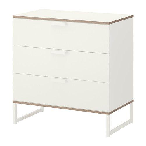 IKEA - TRYSIL, Cómoda c/3 gavetas, branco/cinz clr, , Gaveta que ...