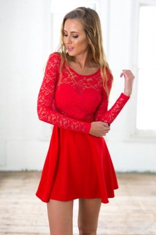 e6f17212007f Red Long Sleeve Skater Dress with Scoop Bow Back