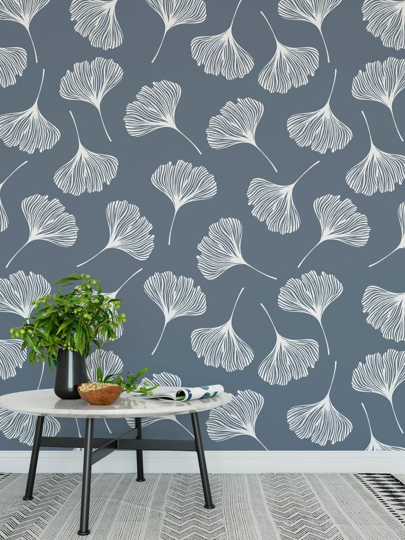 High Quality Peel And Stick Removable Self Adhesive Wallpaper Modern Gingko Leaves Pattern Choose From 4 Color Ways In 2021 Gingko Leaves Vinyl Wallpaper Wall Texture Design