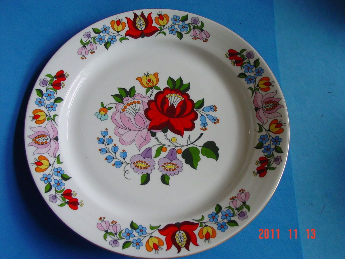 Hungarian hand painted porcelain wall plate it is first class colorful hand painted porcelain decorative wall hanging plate with the kalocsa hungarian ethnic motive flowers design you can used as a wall hanging amipublicfo Image collections