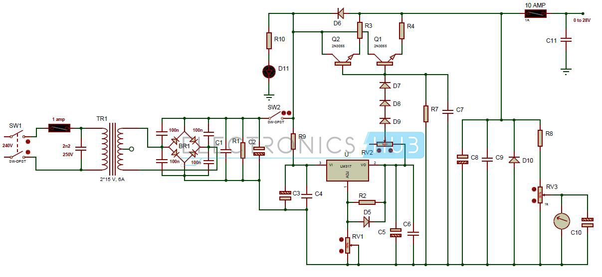 0 28v 6 8a Power Supply Circuit Using Lm317 And 2n3055 With
