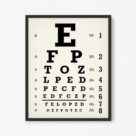 Eyechart Art Print Digital Snellen Eye Chart Poster Printable Optometrist Gift Oculist