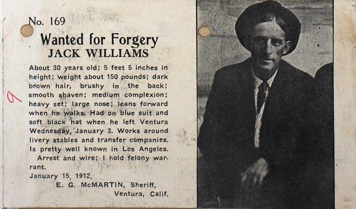 Jack Williams Wanted  By EG McMartin Ventura, CA Sheriff