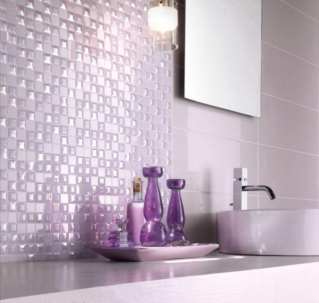 carrelage mosaque dans la salle de bains 30 ides modernes - Mosaique Rose Salle De Bain