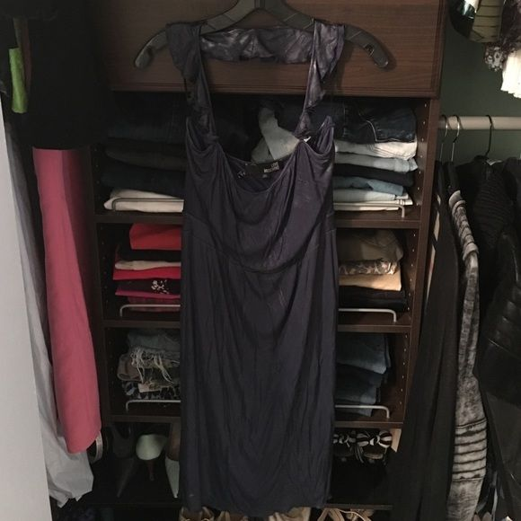 """NWOT!! Love Moschino Dress This dress has a """"wet look""""/shiny fabric-pictures don't do it justice. Cute ruffled halter neckline. Moschino Dresses"""