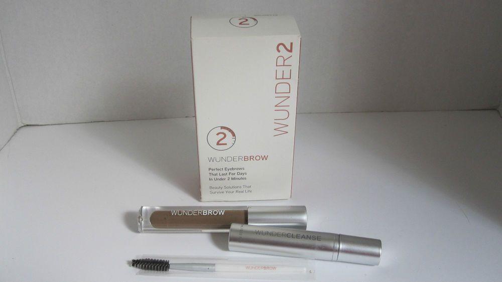 Wunder2 Wunderbrow 0.105 oz. Brunette Gel, Spoolie Brush, Cleanse, Instructions #Wunder2