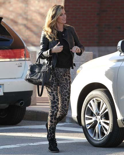 Gisele Bundchen went for two-tone leopard print (plus a model's obligatory leather jacket) while out and about in Boston.
