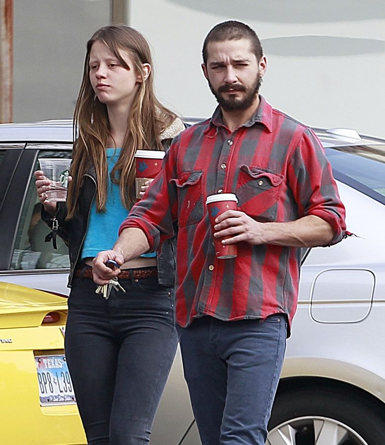 Shia LaBeouf Holds Girlfriend Mia Goth Shia labeouf