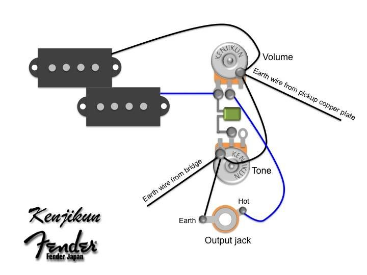 p bass wiring diagram google search guitar repair pinterest rh pinterest com fender squier p bass wiring diagram fender american deluxe precision bass wiring diagram