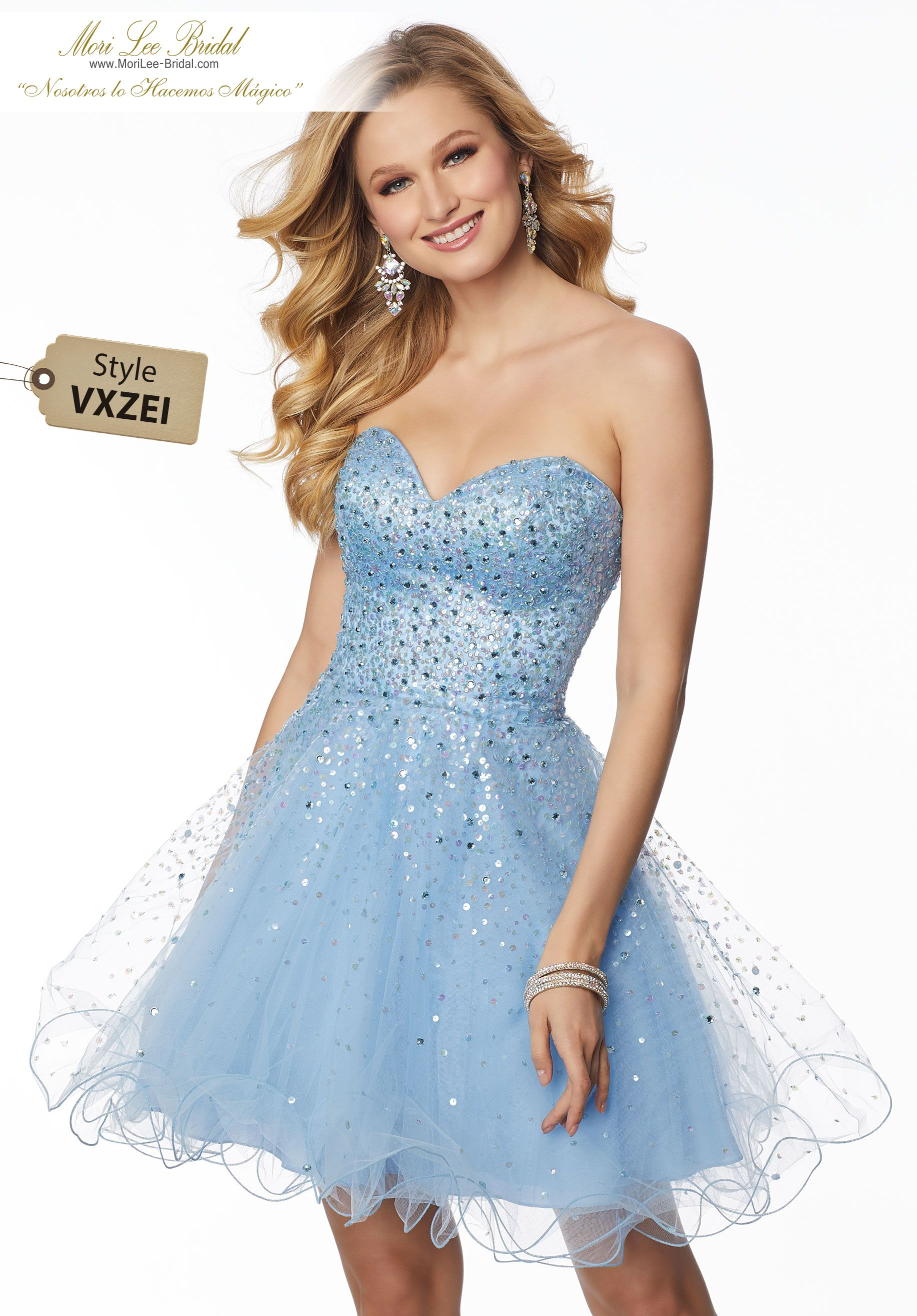 237afa2460 Estilo VXZEI Tulle Party Dress with with Tonal Beading Colors: Navy,  Silver/Nude, Wine, Bahama Blue