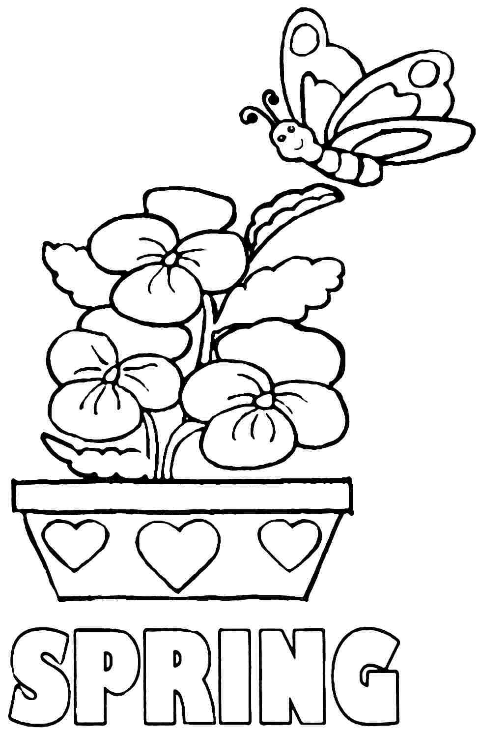 76 Spring Coloring Easy In 2020 Kindergarten Coloring Pages Spring Coloring Pages Spring Coloring Sheets