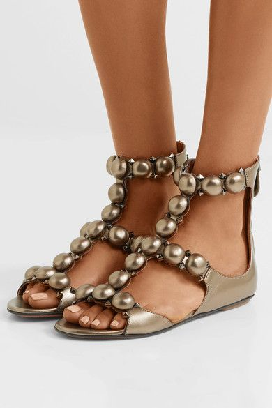48cc12dbc808 ALAÏA Bombe studded metallic leather sandals in 2018