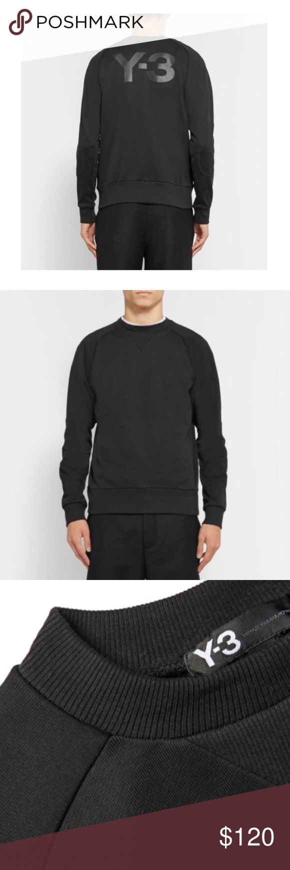 Yohji Yamamoto Y3 + Adidas Crewneck Black Y3 Logo Crewneck (size XXL but fits like a large) Y3 Sweaters Crewneck