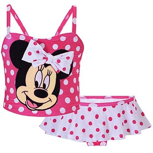 Toddler Girl 2T-5T Disney Minnie Mouse Pink White Checked Swimsuit Swim Swimming