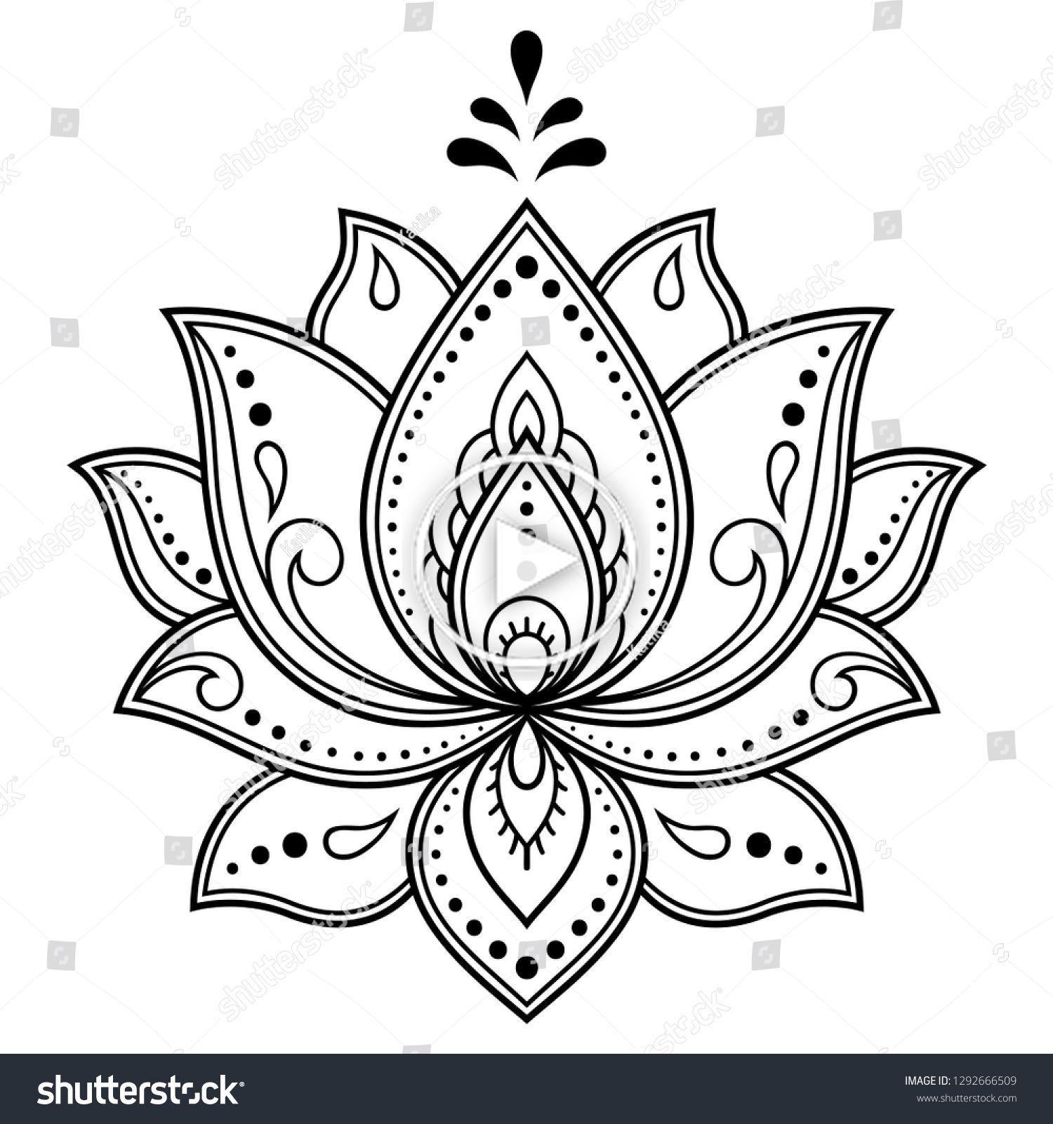 Vector De Stock Libre De Regalias Sobre Mehndi Lotus Flower Pattern Henna Drawing12926 Mandalas Faciles De Dibujar Plantillas De Mandalas Flor De Loto Dibujo