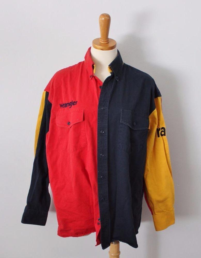 bc8d54ad Vtg 90s Wrangler Cotton Color Block western Shirt men L cowboy red yellow  F5 #Wrangler #Western