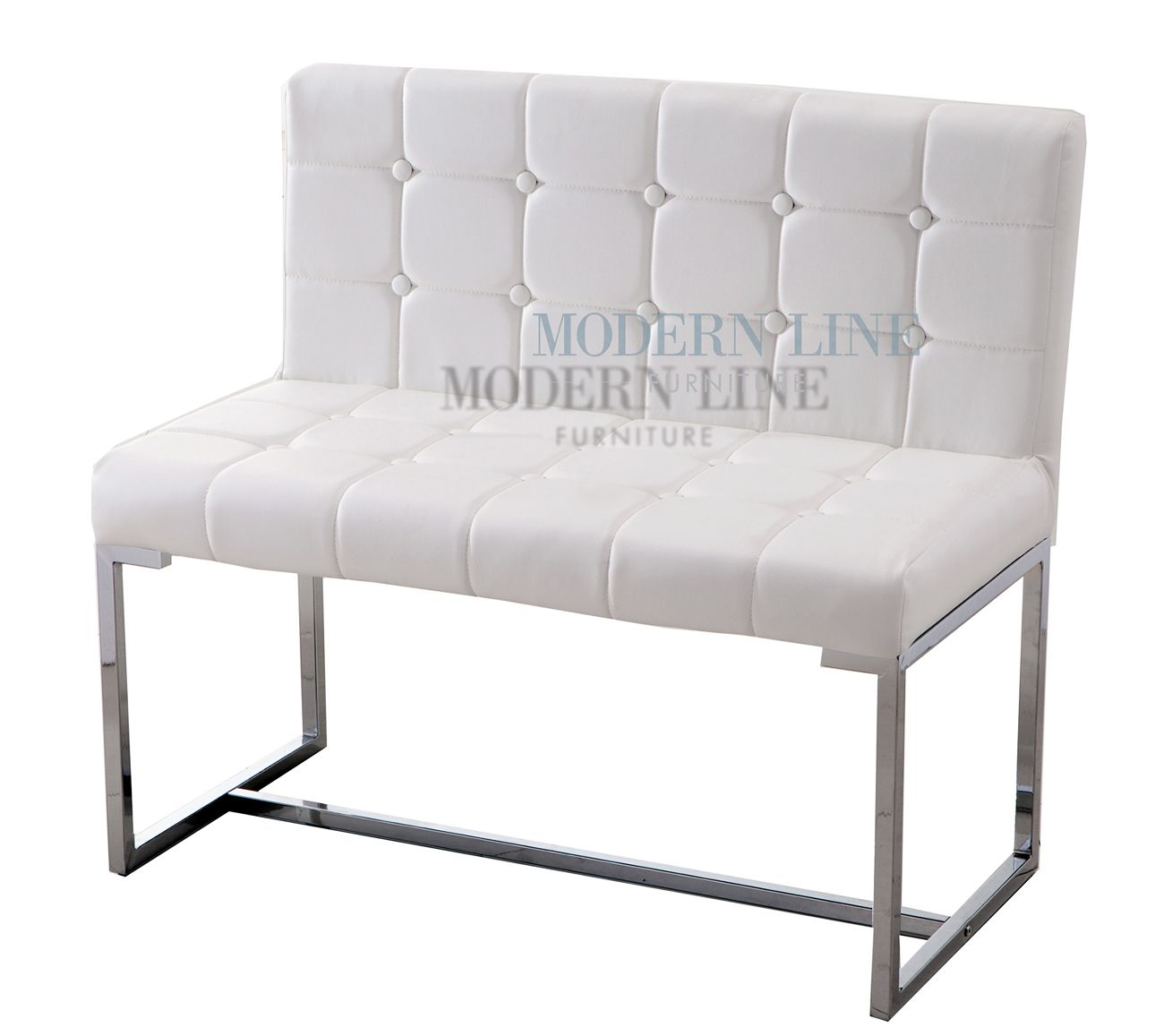 Modern White Tufted Leather Dining Bench