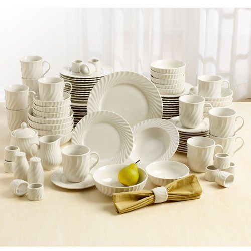 Beautiful Elegant Gibson White Tides 101-piece Dinnerware SET Service for 12 by Gibson & Beautiful Elegant Gibson White Tides 101-piece Dinnerware SET ...