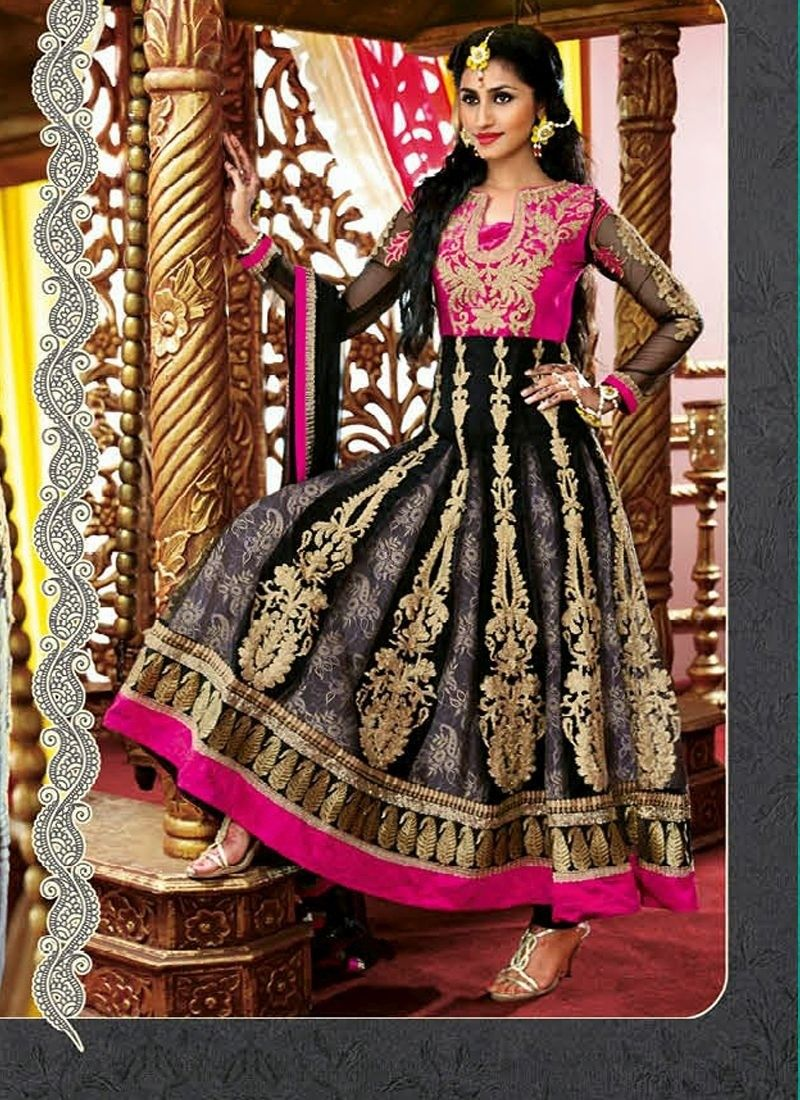 Black pink brasso net long length anarkalai salwar kameez indian