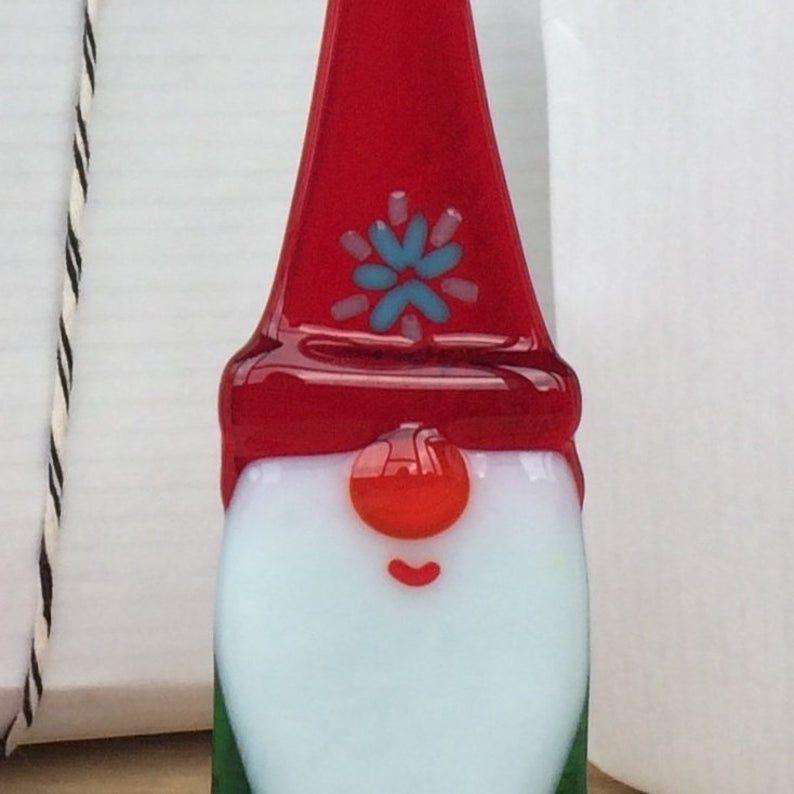 Christmas gnome, Fused glass gnome, Christmas Decor, Christmas ornament, glass elf, glass figurine, glass sculpture