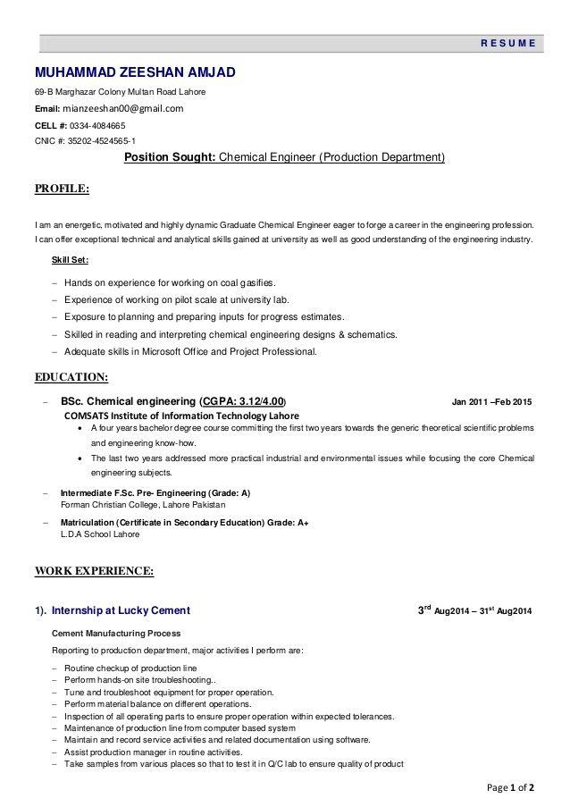 page emuhammad zeeshan amjad marghazar colony sample resume - chemical engineering resume