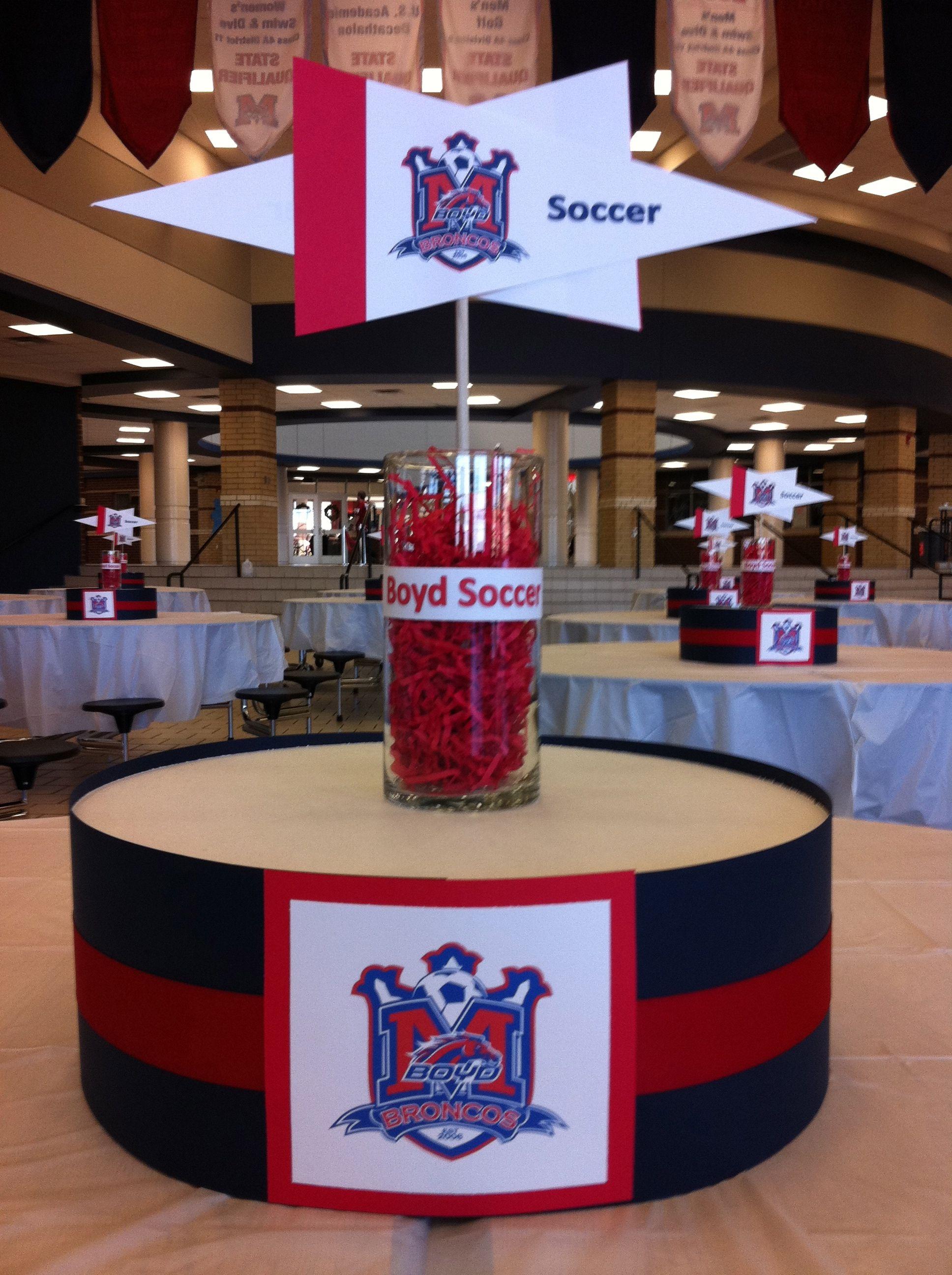 Soccer centerpiece for school kickoff dinner. We put