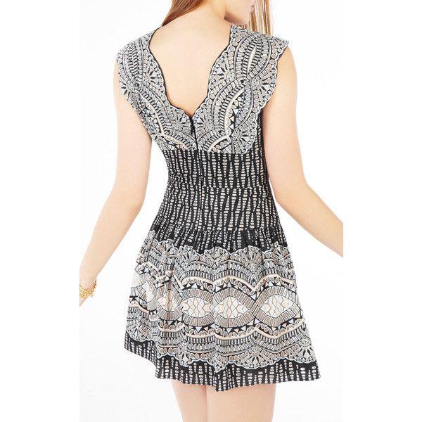 BCBG MaxAzria Carolena Burnout Deco Print Mesh Summer Dress ❤ liked ...