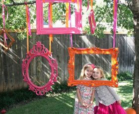WIP Blog: Graduation Party Ideas  How cute would this be? She could take pictures with all her friends!  Maybe we could buy a frame from Aaron brothers and hang it from one of my trees and then just return it.