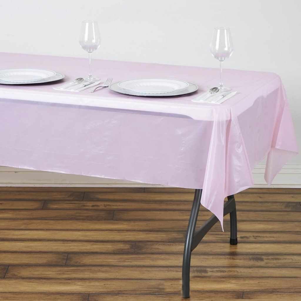 54 X 72 Pink 10 Mil Thick Waterproof Tablecloth Pvc Rectangle Disposable Tablecloth In 2020 Table Cloth Waterproof Tablecloth Plastic Tables