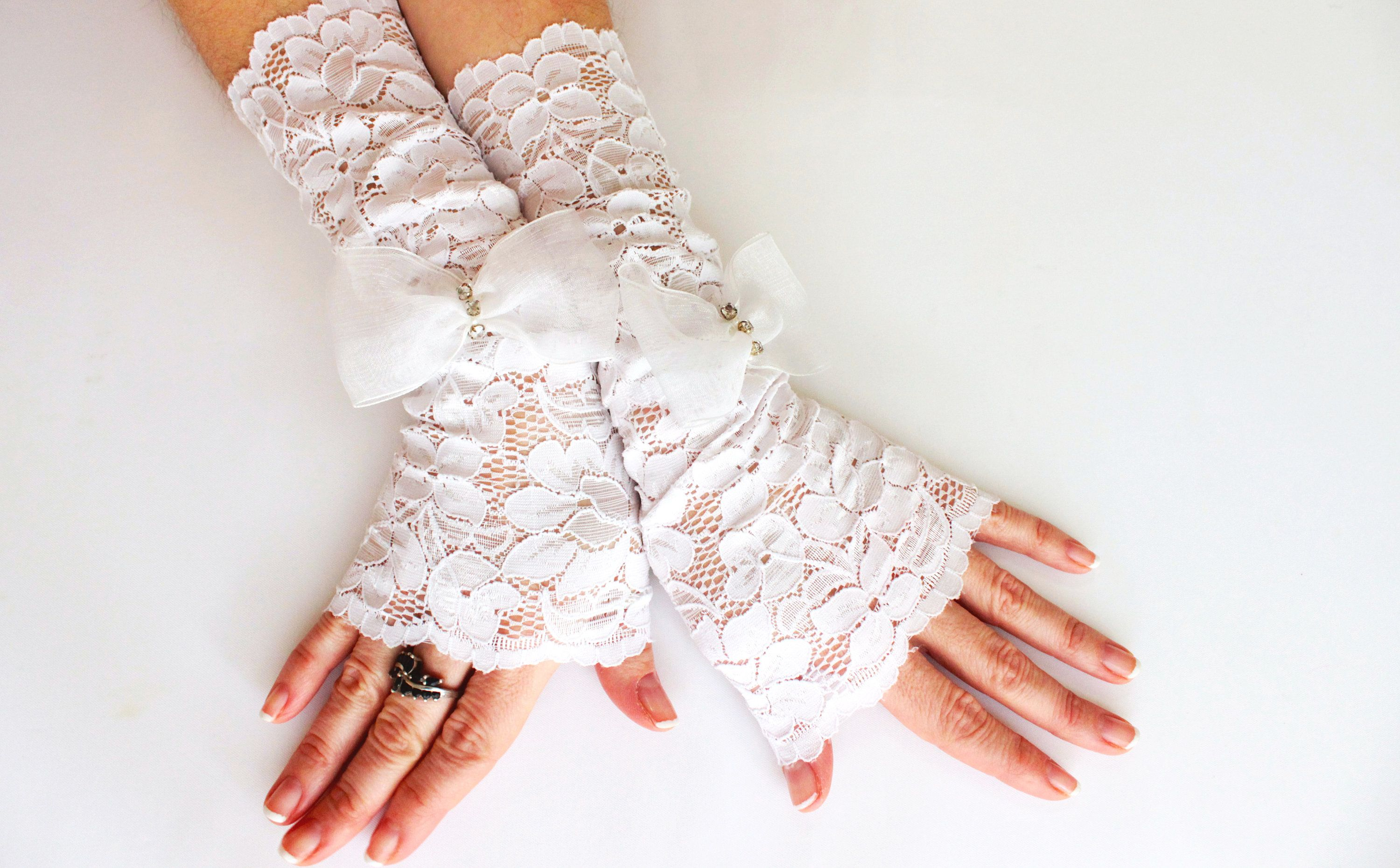 Women Dance Ball Costume Party embroidery Fingerless Rose Floral Lace Gloves