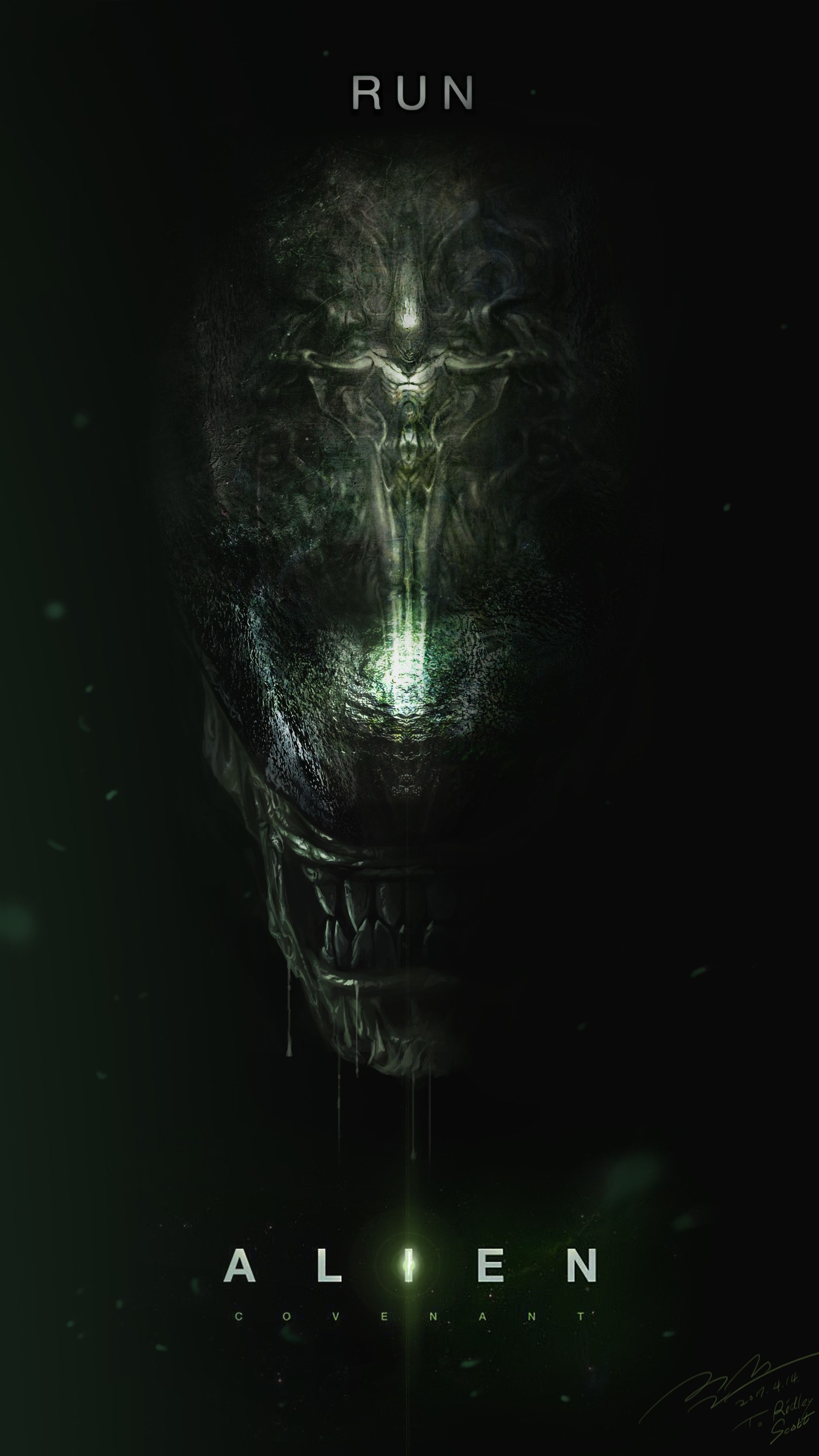 "ArtStation - ""Run"" - Alien Covenant Fan art Poster, Jun Seong Park | Alien artwork, Alien movie poster, Alien"