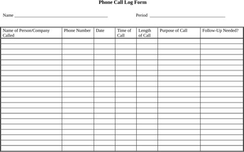 Phone Call Log Form  TemplatesForms    Logs Template