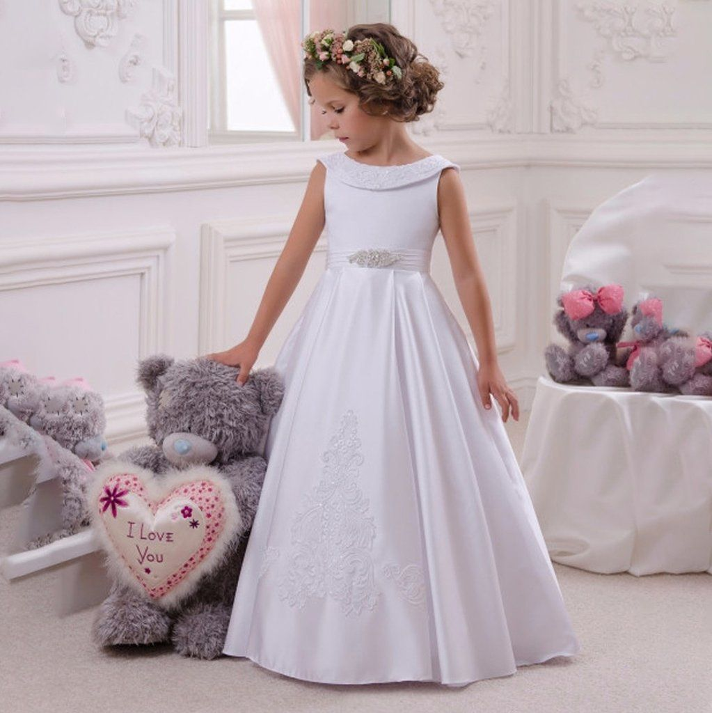 Flower Girl Lace Dress For Kids Pageant Party Prom Formal Ball Gown Pr Sheyl Satin Flower Girl Dress Sleeveless Flower Girl Dresses White Flower Girl Dresses [ 1024 x 1023 Pixel ]
