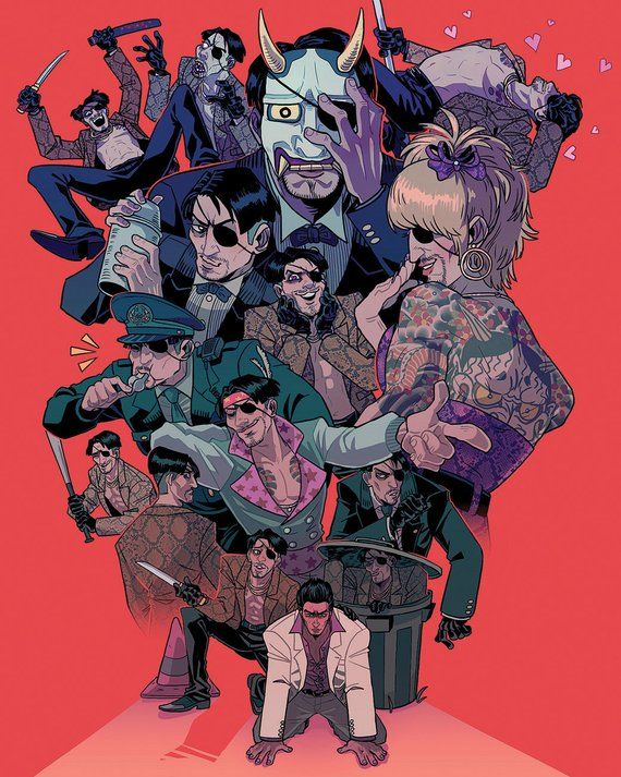 Majima Everywhere Print (Large) Yakuza anime, Anime