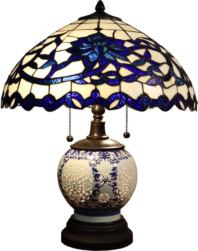 New Akiko 3 Light Blue Glass 21 In Tiffany Style Table Lamp Lowest Price Tiffanystyle Tiffany Style Table Lamps Tiffany Style Lamp Glass Table Lamp