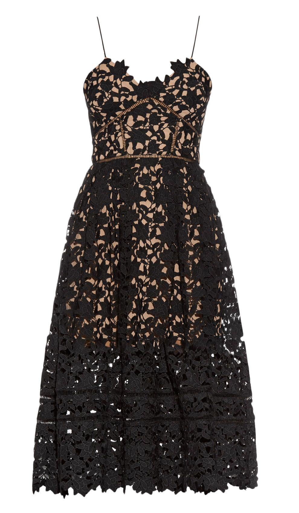 Self-Portrait Black Lace Midi Dress | Designer Kleider Mieten und ...