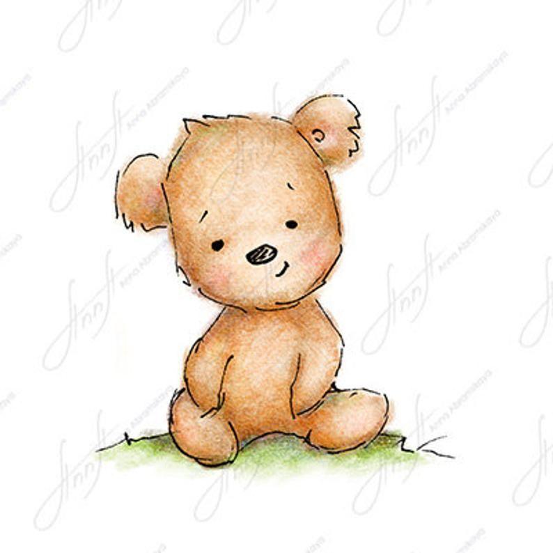 The Drawing Of Cute Teddy Bear Printable Art Digital File Etsy Teddy Bear Tattoos Teddy Bear Drawing Cute Bear Drawings