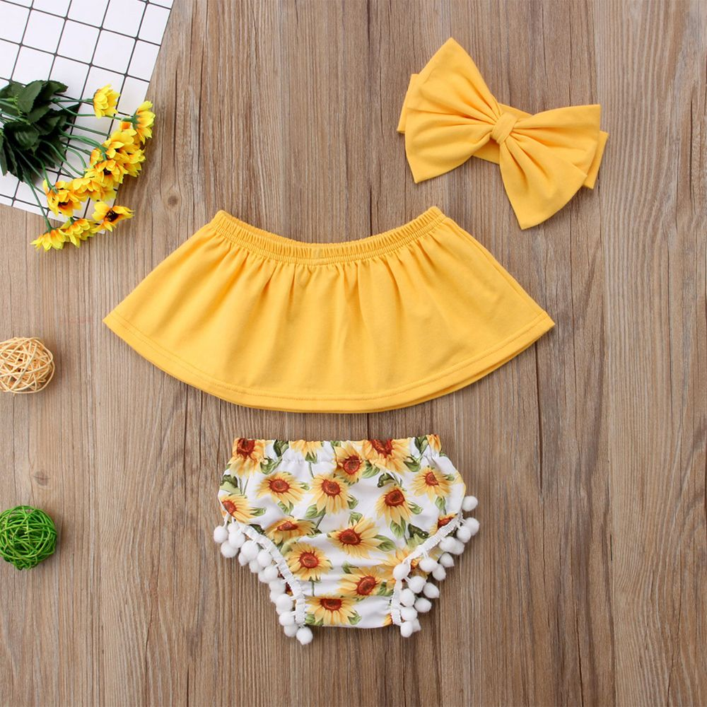 3-piece Baby / Toddler Girl Solid Off Shoulder Flounced Top and Sunflower Shorts with Headband Set