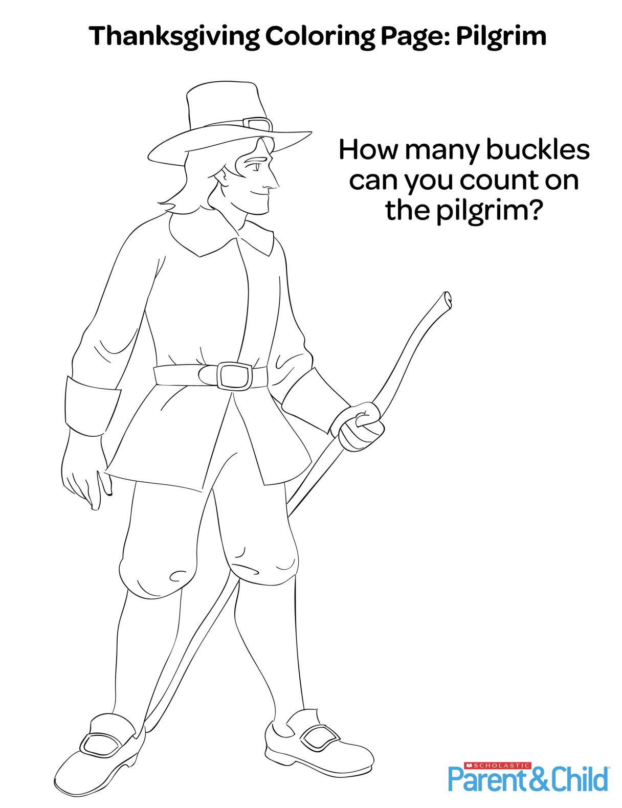 Thanksgiving Printable Coloring Page: Pilgrim | Thanksgiving