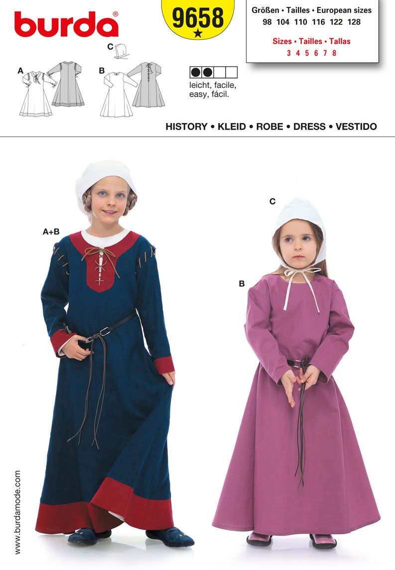 Simplicity/Burda girl\'s medieval dress pattern (B9658) for Maid ...