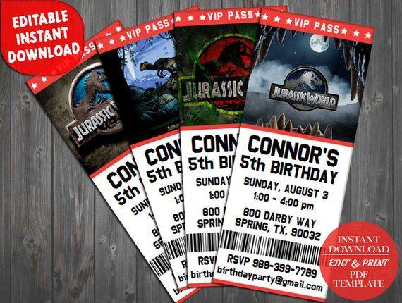 Jurassic Park Birthday Invitation Party Jurassi