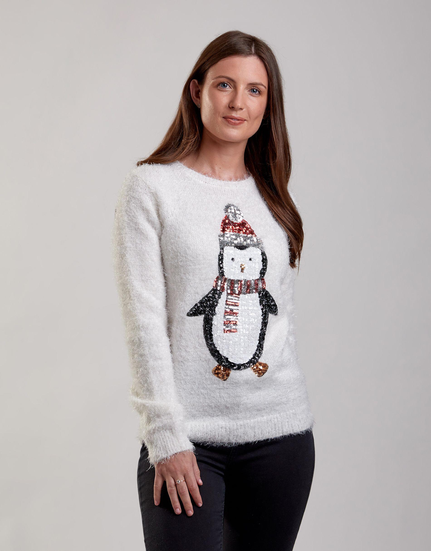 Penguin Christmas Jumper Knit jumper, Womens christmas