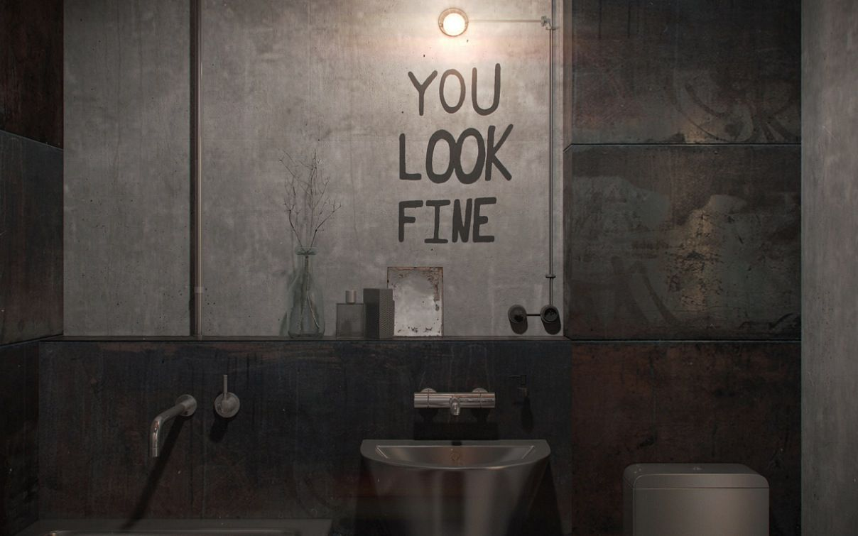 Bathroom Mirror You Look Fine russia-based design firm nordes has created a truly masculine