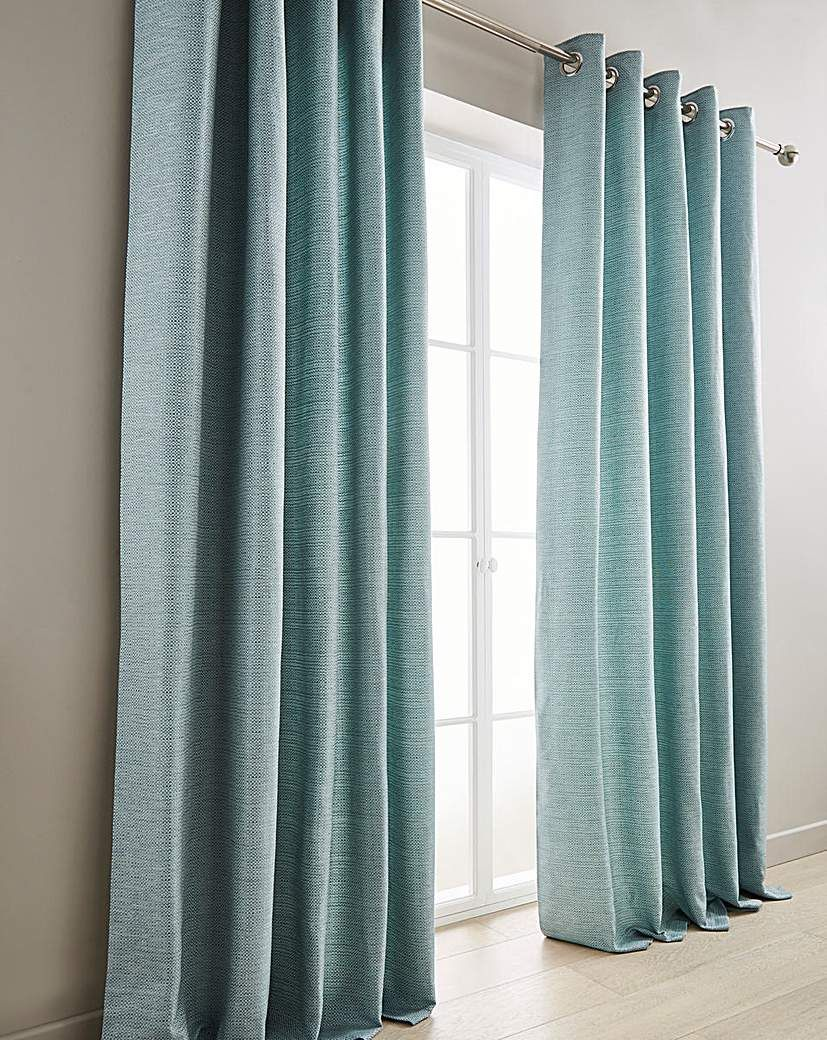 Mila Boucle Lined Eyelet Curtains In