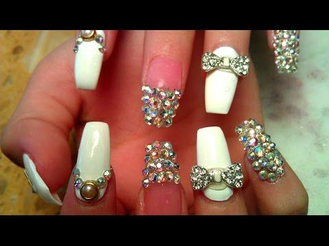 WEDDING ACRYLIC NAIL DESIGN COFFIN NAIL TUTORIAL STEP BY STEP ...